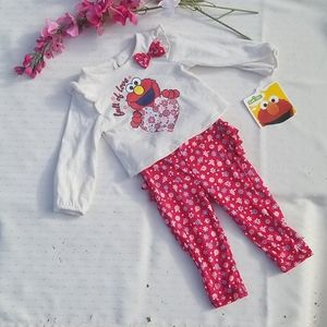Girls Sesame Street Elmo 2 PC Pant Set NWT Sz 6-9